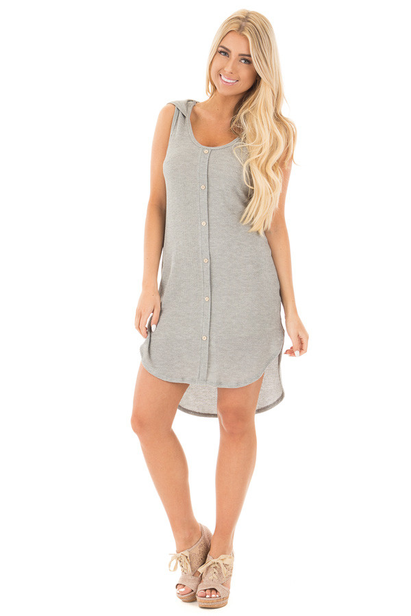Heather Grey Sleeveless Button Up Shirt Tail Hooded Dress front full body