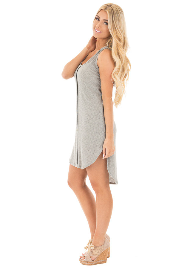Heather Grey Sleeveless Button Up Shirt Tail Hooded Dress side full body
