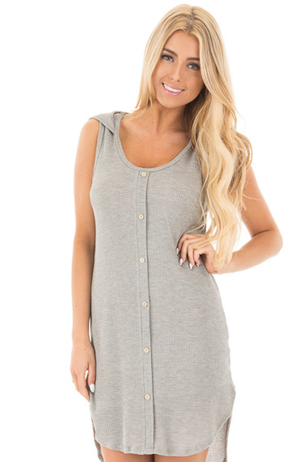Heather Grey Sleeveless Button Up Shirt Tail Hooded Dress front close up