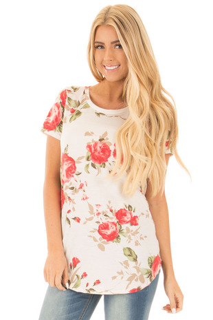 Ivory Floral Basic French Terry Tee Shirt front close up