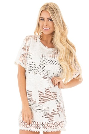 White Sheer Front Tunic with Floral Pattern and Crochet Trim front close up