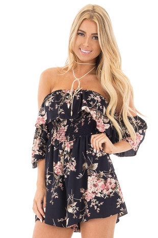Navy Floral Off the Shoulder Smocked Romper front close up