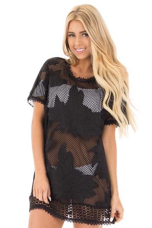 Black Sheer Front Tunic with Floral Pattern and Crochet Trim front close up