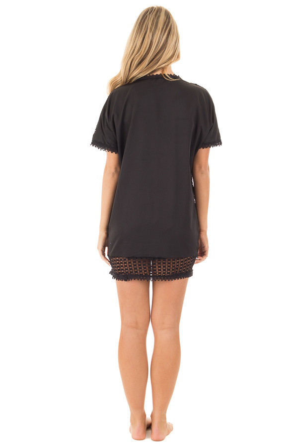 Black Sheer Front Tunic with Floral Pattern and Crochet Trim back full body