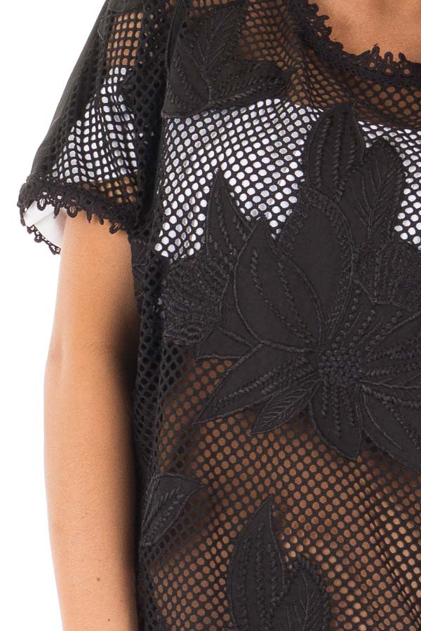Black Sheer Front Tunic with Floral Pattern and Crochet Trim detail