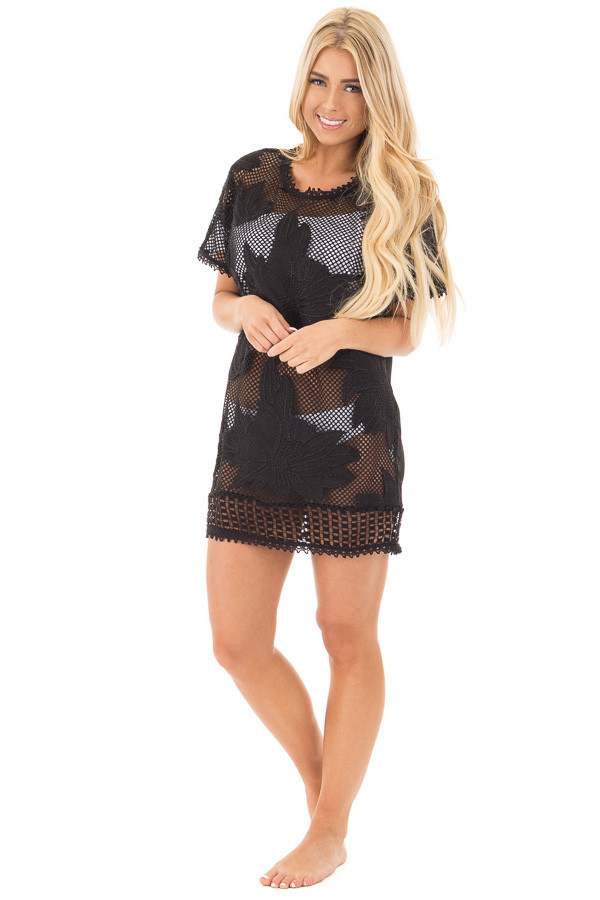 Black Sheer Front Tunic with Floral Pattern and Crochet Trim front full body