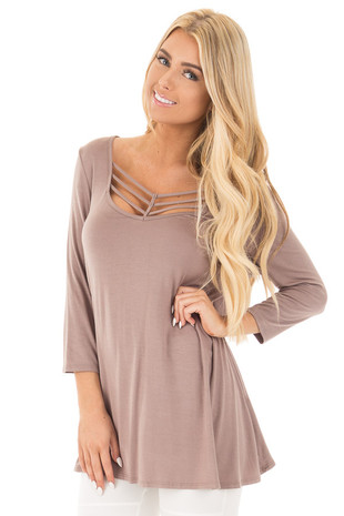 Cocoa 3/4 Length Sleeves with Caged Neckline Detail Top front close up