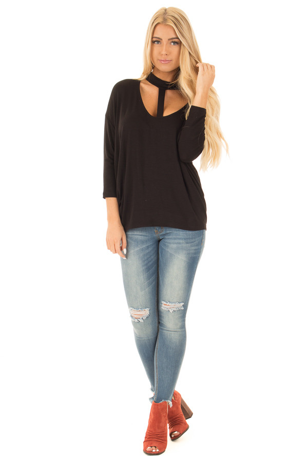 Black T Strap Mock Neck Loose Fit Dolman 3/4 Sleeve Top front full body