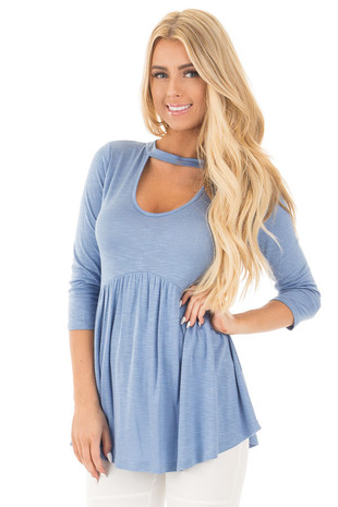 Slate Blue Baby Doll Tunic with Key Hole Mock Neck Detail front close up