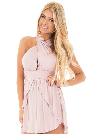 Dusty Rose Deep V Jersey Knit Dress with Long Multiway Neck Tie front close up