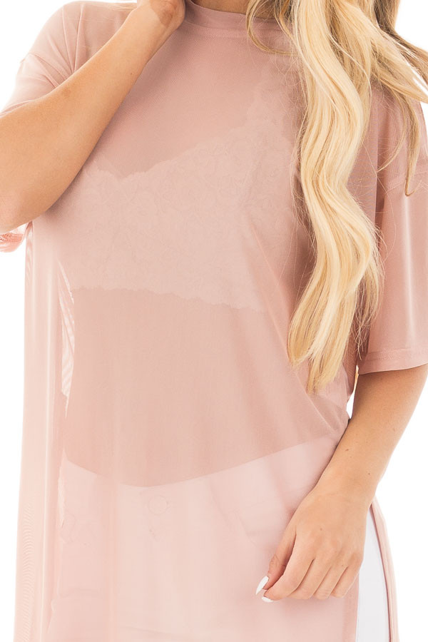 Blush Sheer Loose Fit Tunic with Side Slit Details detail