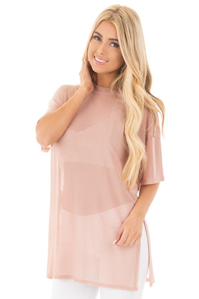 Blush Sheer Loose Fit Tunic with Side Slit Details front close up