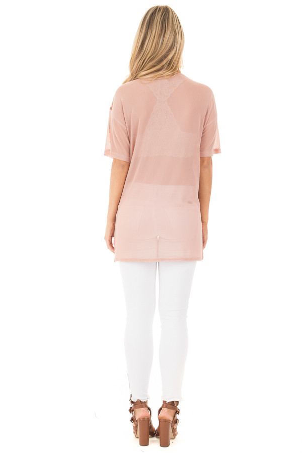 Blush Sheer Loose Fit Tunic with Side Slit Details back full body