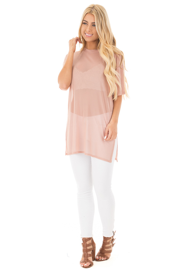 Blush Sheer Loose Fit Tunic with Side Slit Details front full body
