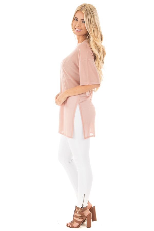 Blush Sheer Loose Fit Tunic with Side Slit Details side full body