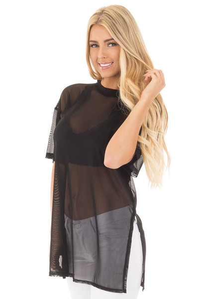 Black Sheer Loose Fit Tunic with Side Slit Details front close up