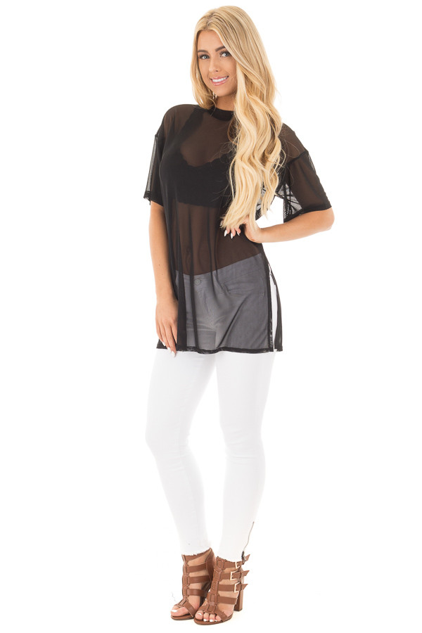 Black Sheer Loose Fit Tunic with Side Slit Details front full body