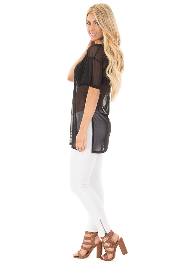 Black Sheer Loose Fit Tunic with Side Slit Details side full body
