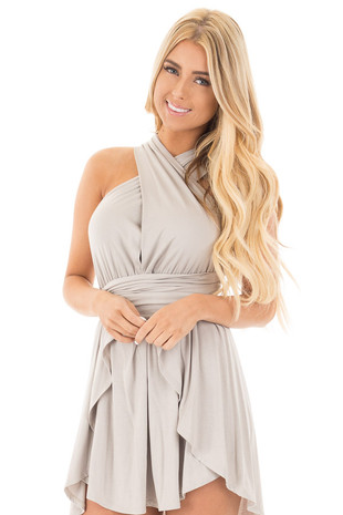 Stone Grey Deep V Jersey Knit Dress with Long Multiway Neck Tie front close up