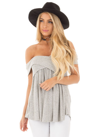 Heather Grey Knit Off Shoulder Top with Overlap Detail front close up
