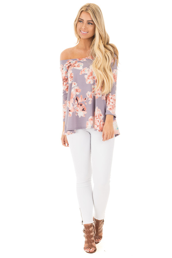 Dusty Lavender Floral Print Off the Shoulder Knit Top front full body