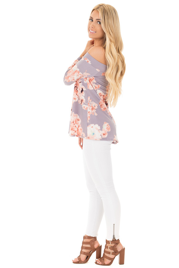 Dusty Lavender Floral Print Off the Shoulder Knit Top side full body
