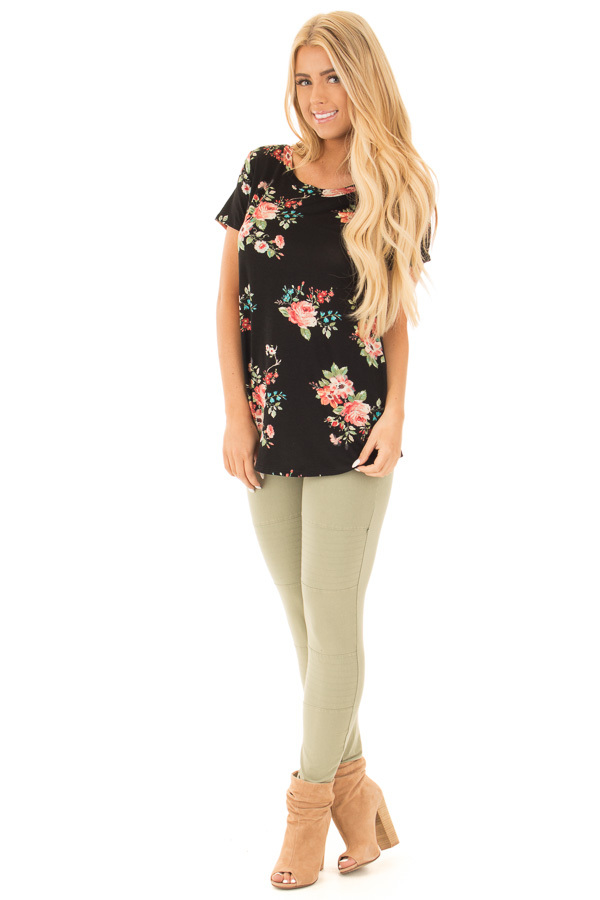 Black Floral Print Tee Shirt front full body