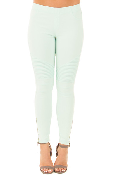 Mint Moto Jeggings with Side Zipper Detail front view
