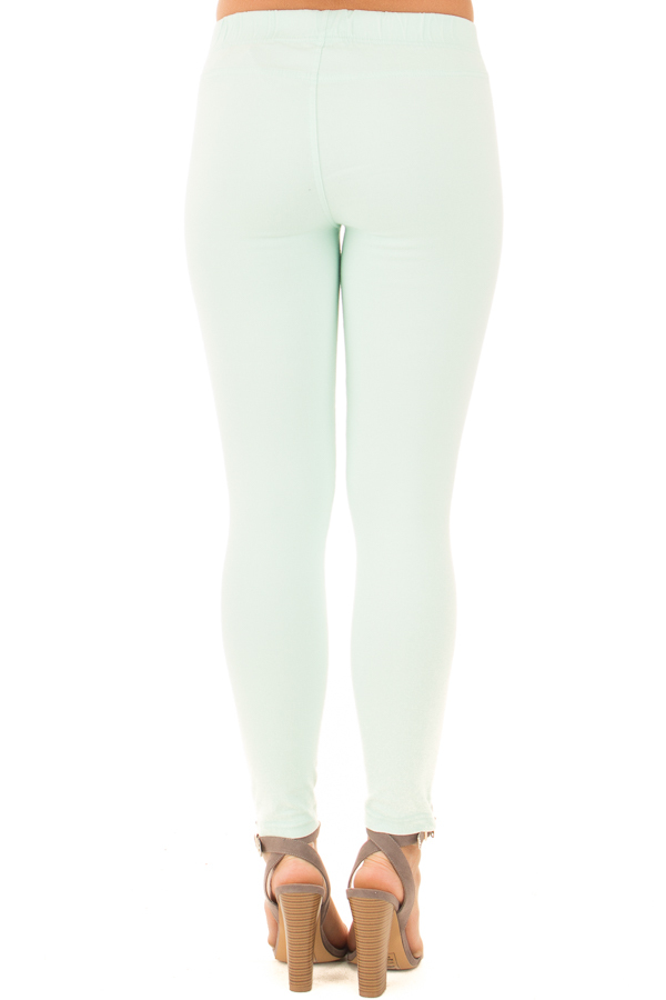 Mint Moto Jeggings with Side Zipper Detail back view