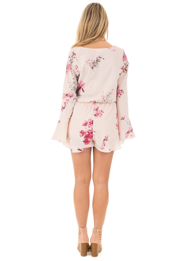 Light Blush Wrap Style Romper with Rose Floral Print back full body