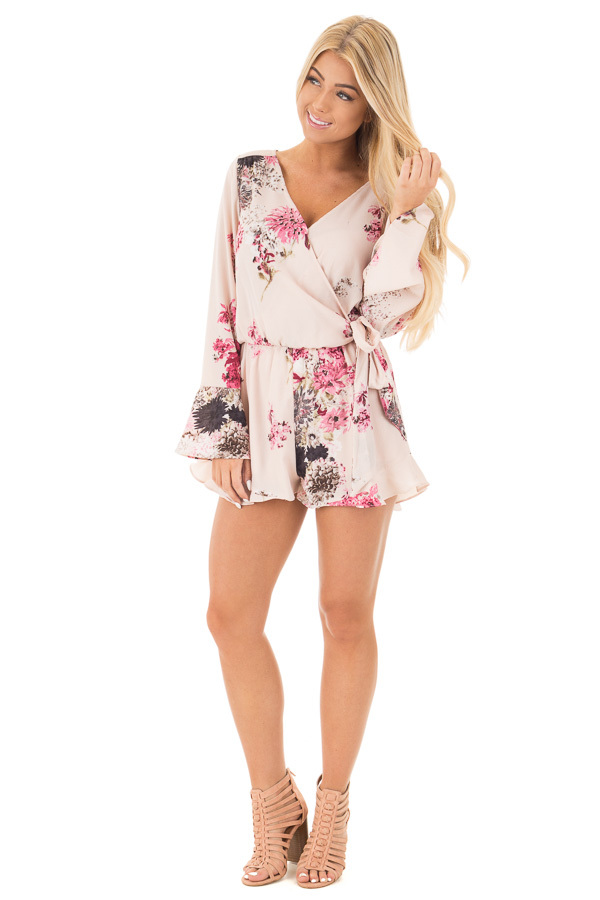 Light Blush Wrap Style Romper with Rose Floral Print front full body