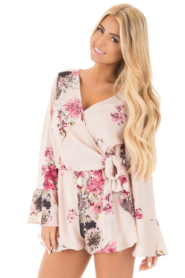 Light Blush Wrap Style Romper with Rose Floral Print front close up