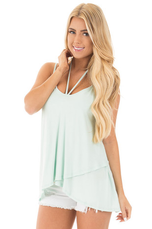 Icy Mint Tank Top with Asymmetrical Hem front close up