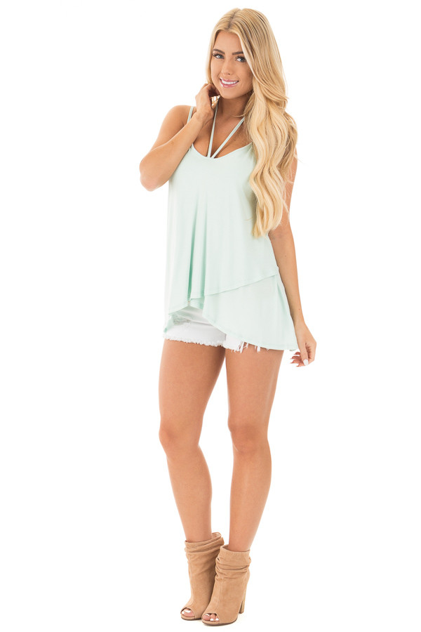 Icy Mint Tank Top with Asymmetrical Hem front full body