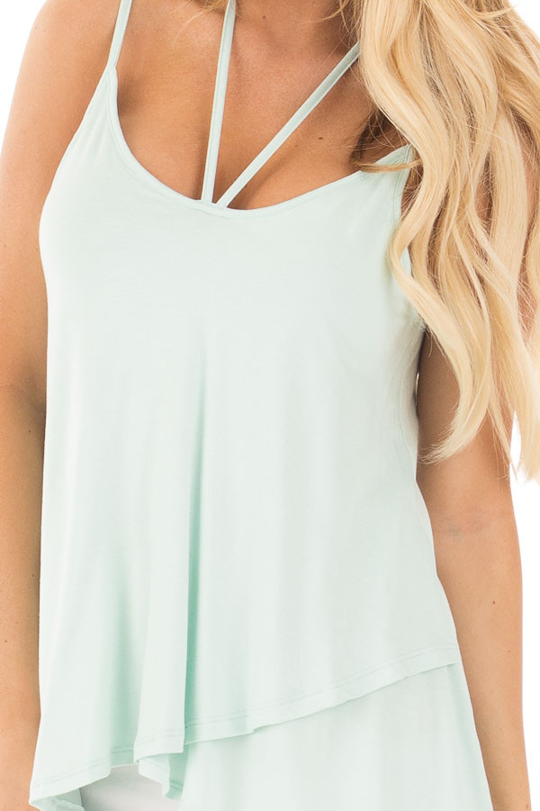 Icy Mint Tank Top with Asymmetrical Hem detail