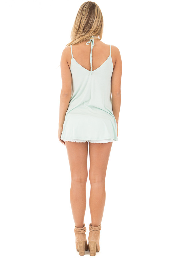 Icy Mint Tank Top with Asymmetrical Hem back full body