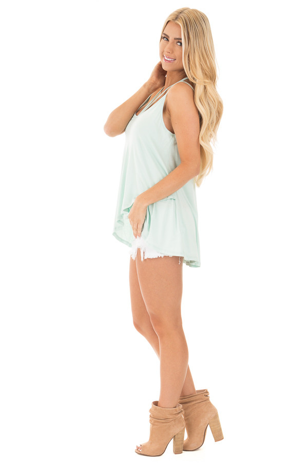 Icy Mint Tank Top with Asymmetrical Hem side full body