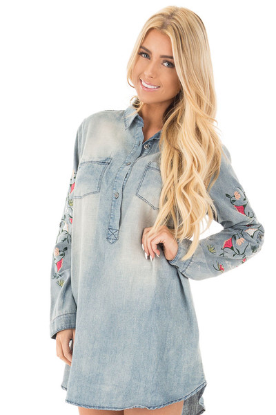 Faded Denim Shirt Dress with Floral Embroidered Sleeve Detail front close up