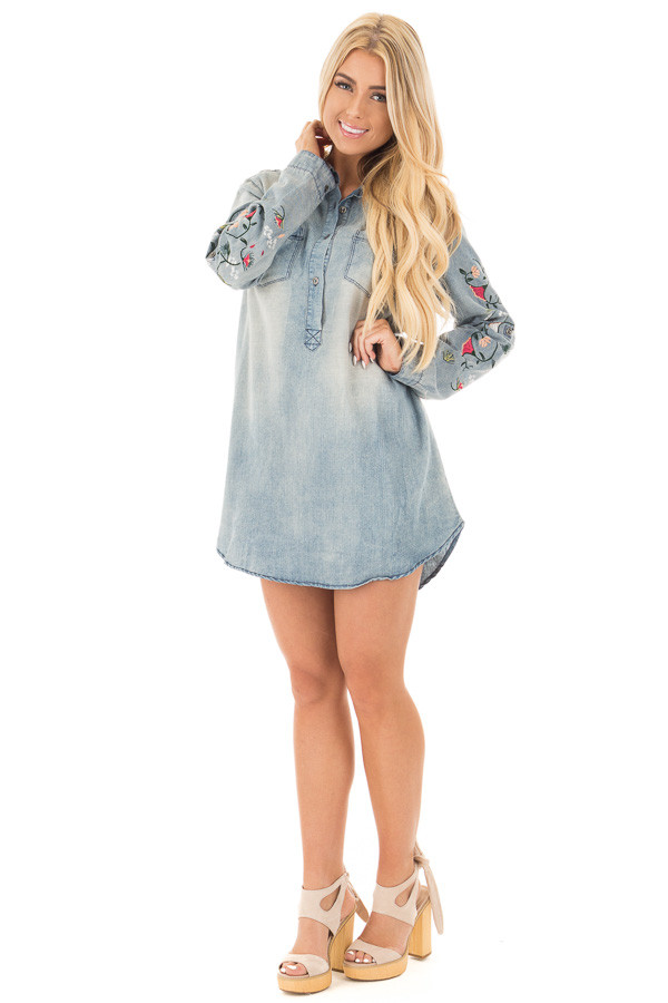 Faded Denim Shirt Dress with Floral Embroidered Sleeve Detail front full body