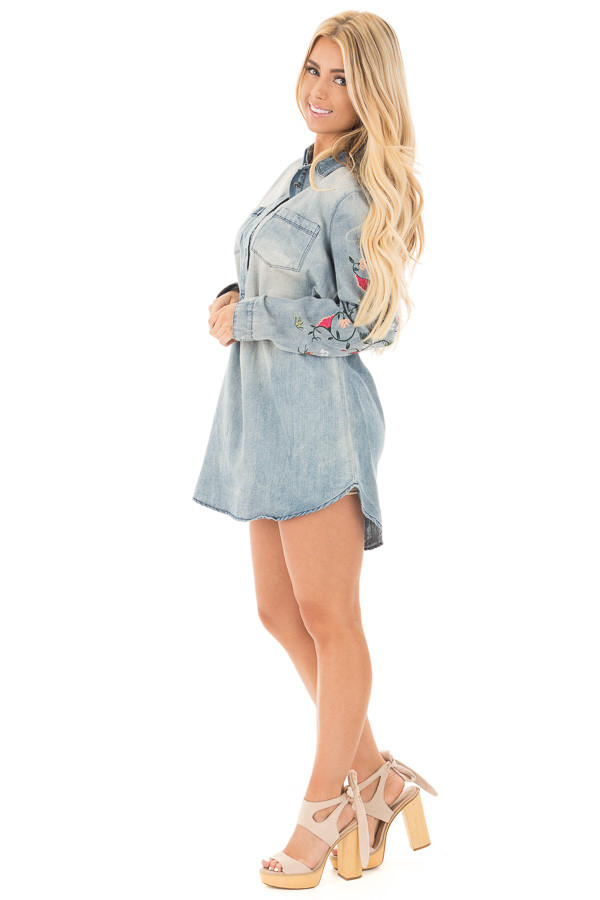 Faded Denim Shirt Dress with Floral Embroidered Sleeve Detail side full body