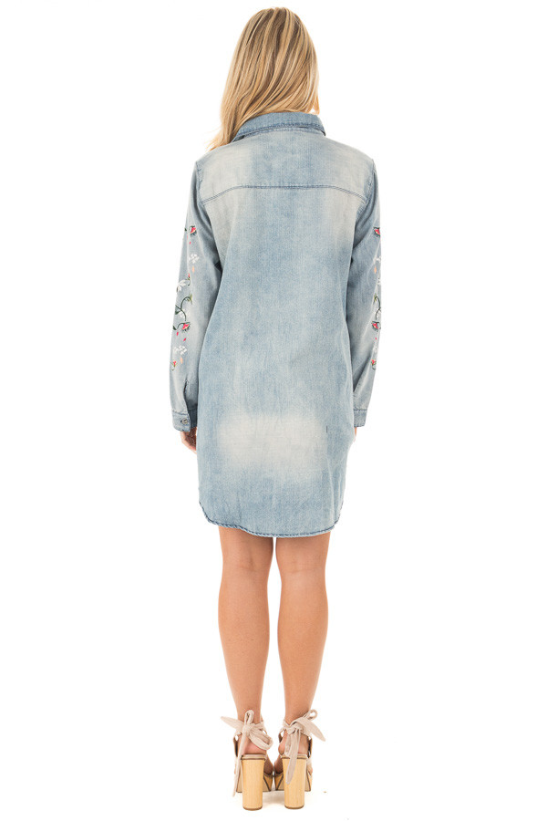 Faded Denim Shirt Dress with Floral Embroidered Sleeve Detail back full body