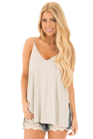 Moonstruck Grey Thin Cami Top with Side Slits front close up