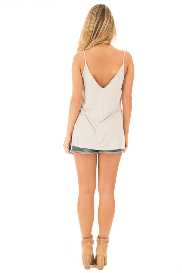 Moonstruck Grey Thin Cami Top with Side Slits back full body