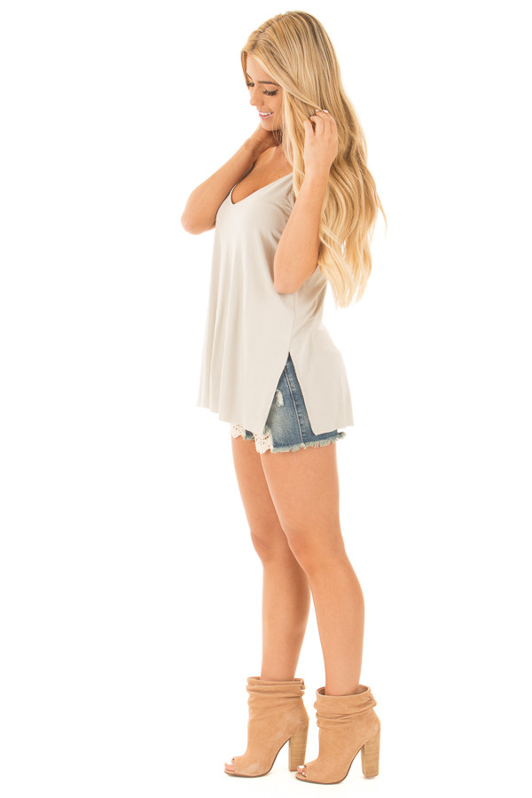 Moonstruck Grey Thin Cami Top with Side Slits side full body