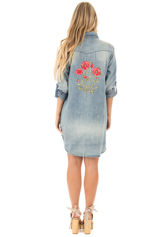 Faded Denim Shirt Dress with Embroidered Shoulder and Back Detail back full body