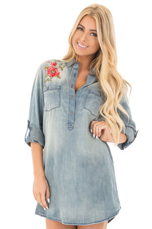 Faded Denim Shirt Dress with Embroidered Shoulder and Back Detail front close up