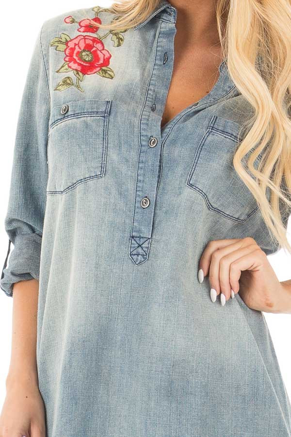 Faded Denim Shirt Dress with Embroidered Shoulder and Back Detail detail