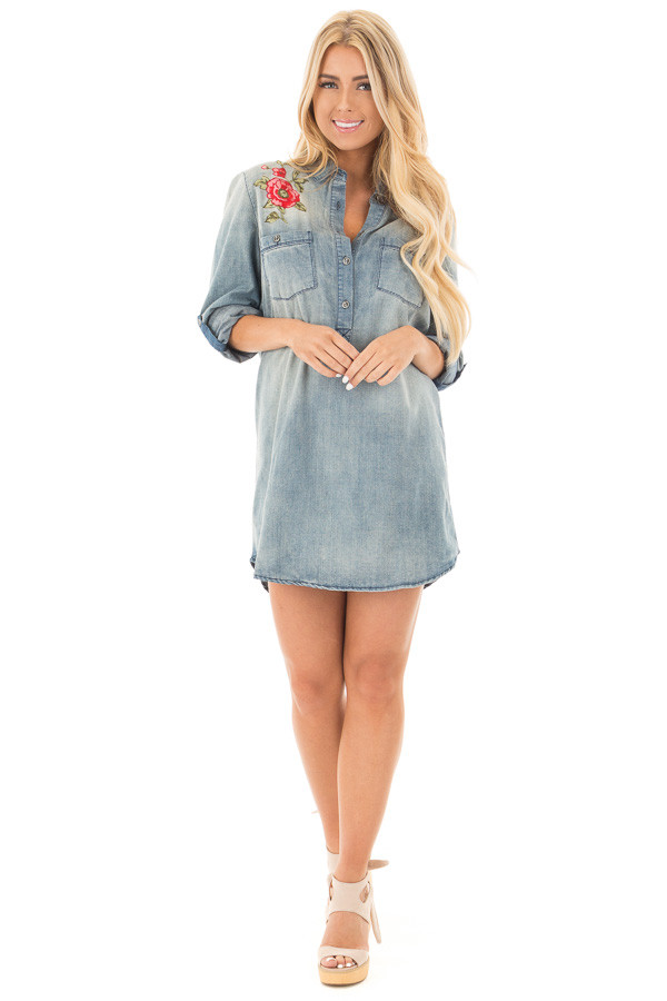Faded Denim Shirt Dress with Embroidered Shoulder and Back Detail front full body