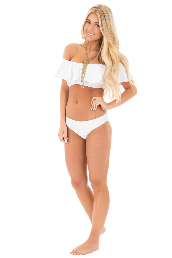 White Bandeau Style Bikini with Ruffled Overlay Details front full body