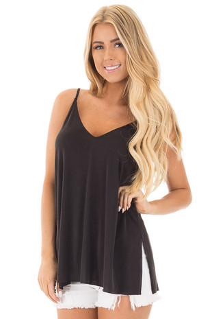 Black Thin Cami Top with Side Slits front close up